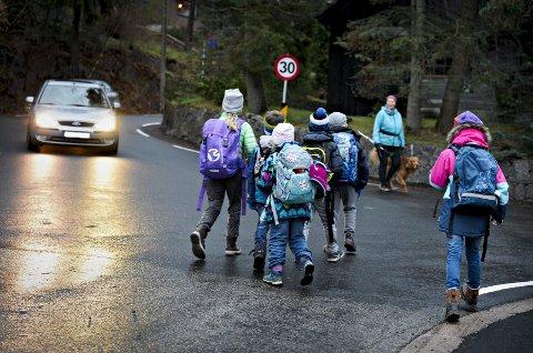 Farlig: Trygg Trafikk karakteriserte dette krysset som et av de farligste punktene på Buskeruds skoleveier.