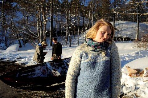 Hannah Hjeltnes under innspilling av Terje Vigen.