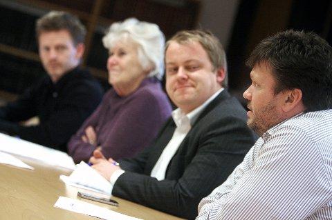 Det borgelige flertallet i Moss la i går frem sitt budsjettforslag. Fra venstre: Tage Pettersen, Kjellaug Nakkim, Erlend Wiborg og Sindre W. Mork