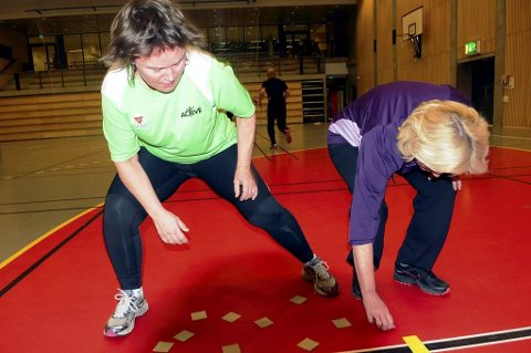 Stafett med Dyre-Lotto er god trening både for kondisjonen og hukommelsen. Her ser vi Jannicke Hjelde Seeberg (venstre) og Tone Skrede prøve å finne frem til dyrene som mangler på startstreken.