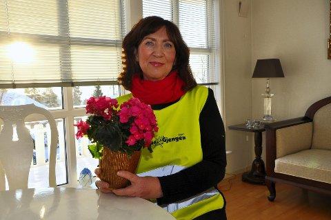 Tjukkasmamma: Frøydis Viddal gikk i bresjen for Tjukkasgengen i Brumunddal. Et lavterskeltilbud for å få folk til å kmme seg ut å gå tur. Foto: Svein Sjølie
