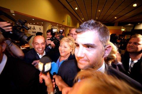 Høyres leder Erna Solberg ankommer Høyres valgvake.