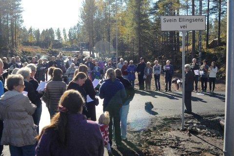 Den nye veien som hedrer billedkunstner og salmedikter Svein Ellingsen ble høytidelig åpnet i dag.