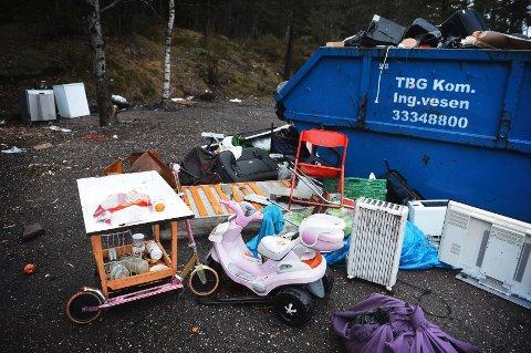 Romleiren på messeområdet i Tønsberg bærer tydelig preg av forsøpling.