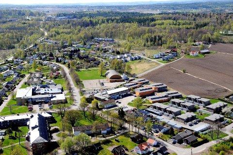 FYLLES: Dagens flyfoto av Borre, og spesielt skogen og jordene til høyre, skal fylles med skole- og næringsaktiviteter.