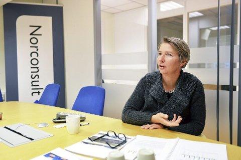 VEIEN OG MÅLET: Anette Olshausen i Norconsult har jobbet tett på fylkeskommunen om innstillingen til nytt transportsystem i Tønsberg-regionen.  – Vestfjord-forbindelsen oppfyller ikke målet med nytt veisystem, sier hun. Foto: Harald Strømnæs