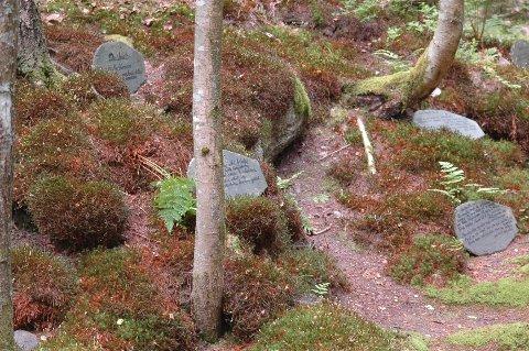 Det er mye lærdom å hente på turen gjennom skogen til urtehagen. Og hvorfor ikke merke dine egne planter med tusj på stein?