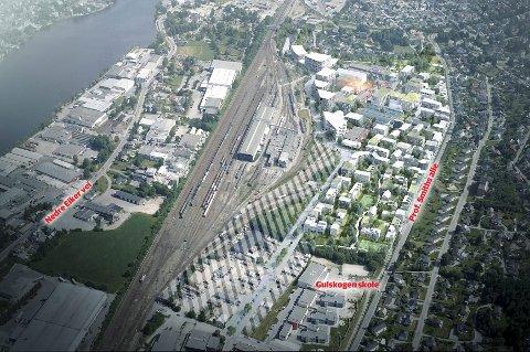 Ferdig utbygget vil Sundland ha rundt 1.000 boliger. Men det er langt fram i tid, etter at jernbanelinjen (i det skraverte feltet) er borte. Utbyggingen av boliger og næring må gjøres etappevis, i takt med at nye veiløsninger kommer på plass. Verkstedet for tog (midt i bildet) blir værende.  Sundland får to sentrale grøntområder.