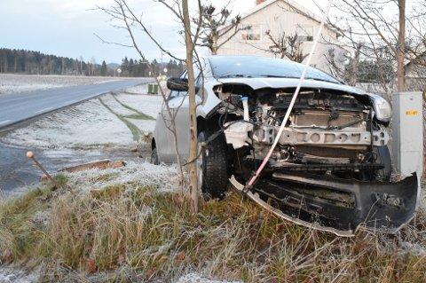 Ingen ble skadet da en bil kjørte av veien tirsdag ettermiddag.