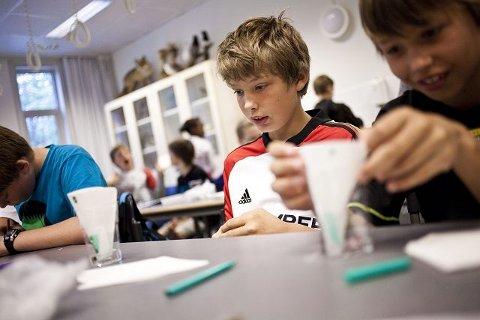 Magnus (12) og Henrik (10) Vognild Andreassen lærer mye gøy av studentene på Forskerfabrikken.
