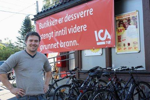 Ica-butikken på Ljabru brant natt til fredag 17. september. Skadene var omfattende.