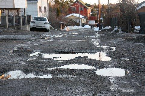 Slik så veien Hammerdalen på Krapfoss ut etter at snø og is har smeltet. Hammerdalen var ikke med på oversikten Statens vegvesen offentliggjorde om hvilke veistrekninger som skal få ny asfalt.