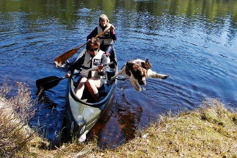 Monsen (1), en springer spaniel oppkalt etter villmarksmannen Lars Monsen, bykser til land. Eieren Linda Arstad (foran) og Grethe Johnsen gjør ilandstigningen uten å risikere å bli våte.