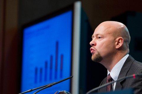 Norges Bank ved Yngve Slyngstad legger frem rapport fra Statens Pensjonfond Utland.