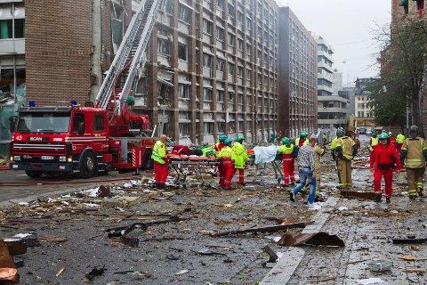 Regjeringskvartalet etter at en bombe ble sprengt fredag ettermiddag.