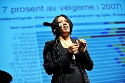 Vanessa Svebakk har engasjert seg både i politikk, foreldreutvalg og innvandrerråd. Her fra en debatt om integrering i februar.