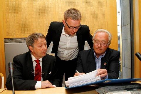 AKSJONISTER: Rune Haaland (f.v.), Frank Hugo Storelv og Knut Chr. Hallan anket lagmannsrettens dom. Høyesterett skal nå behandle lovanvendelsen i saken.