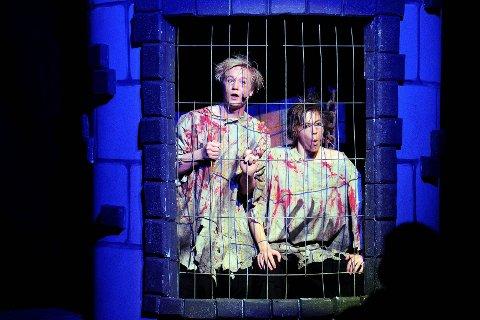 Ni år i fengsel og like bli'. Fangene Roger (Jonas Rismyhr, til venstre) og Harry (Marius Kultorp) vekker latteren der de er fanget i Jarle Hems eminente scenografi.