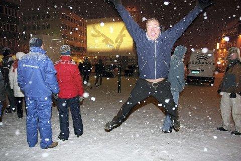 GLAD: Robert Hansen - hoppende glad før vintervisningen i Tromsø.