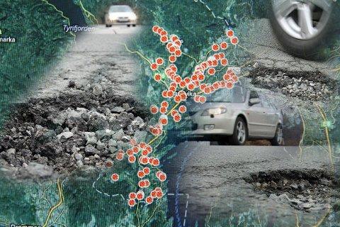 MANGE HULL: Leserne har plottet inn mange hull på Budstikkas hullkart. De røde punktene er innrapporterte hull og skader i asfalten. Asker og Bærum kommuner vil imidlertid ikke forholde seg til kartet. FOTOMONTASJE: KIM VAN DER LINDEN