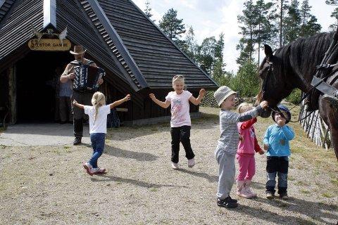STEMNING: Roar Moe spiller opp for barna på Sandtjernsberget. Fra venstre Ronja Klemo (4), Kaja Evjen (5), Mathias Kristoffer Larstorp (5), Nora Evjen (4) og Kristian Fredrik Larstorp (2), og den barnekjære leirskolehesten Bausen.