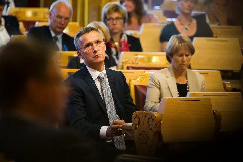 Statsminister Jens Stoltenberg og justisminister Grete Faremo etter redegjørelsen i Stortinget om regjeringens oppfølging av rapporten fra 22. juli-kommisjonen