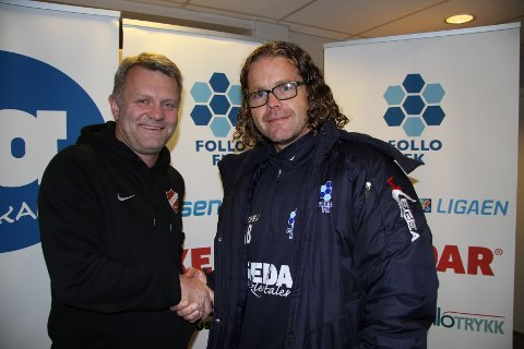 Både leder av Langhus IL Fotball, Ola Haave (t.v.), og Aksel Bergo i Follo FKs sportslig utvalg, var strålende fornøyde med det vedtaket som ble gjort på det ekstraordinære årsmøtet torsdag kveld.