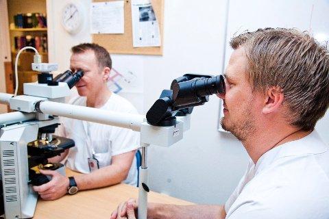 Med mikroskopet som beste hjelpemiddel kan  Bendik Sundrehagen påvise kreft.