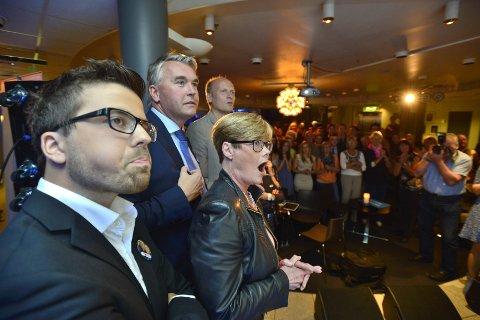 Christoffer Wand, Trond Helleland  og Kristin Ørmen Johnsen var fornøyde på valgvaken.