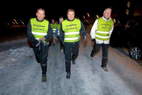 På bildet: Initiativtaker Jan Ellefsen (fra venstre), Kai Nesselquist og prosjektleder Tore Kubberød i Tjukkasgjengen.