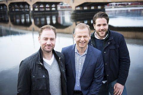 Bookingansvarlig Magnus Lund (t.v.), festivalsjef Tom Søgård og prosjektleder Henrik Vislie.