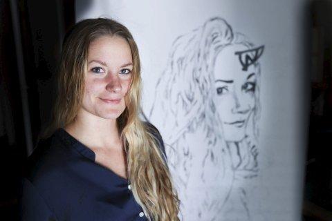 Portrett: Dette portrettet er noe av det som Rebeca stilte ut i Oslo rådhus for noen uker siden.