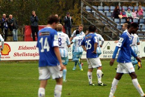 Alexander Ruud Tveter har nettopp sendt Follo i føringen. Det ble også kampens eneste mål.