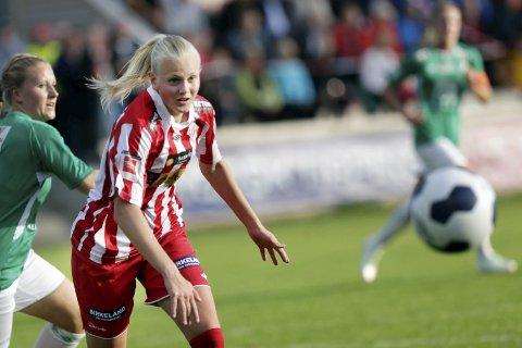 VENTER PÅ TRENER: Karina Sævik vil ha en trener på plass før hun bestemmer seg for om det blir Avaldsnes neste sesong.