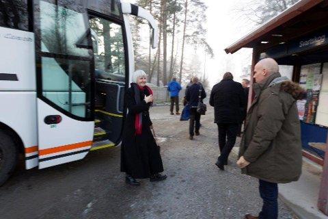 Fylkesmann Valgerd Svarstad Haugland og konstituert kommunalsjef, Espen Dag Rydland på Svartskog.