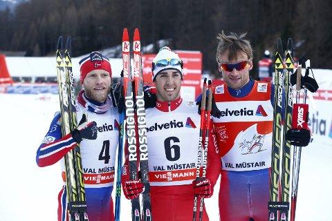 Topp tre: Federico Pellegrino (i midten) vant tirsdagens sprint foran Petter Northug (t.h.) og Martin Johnsrud Sundby.