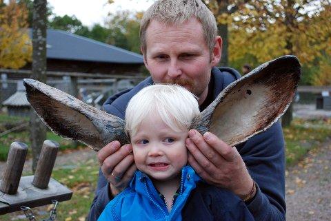 Nordens Ark er glimrende for småbarnsfamilier. Med hareører hører man mye bedre, får Storm Spydevold Holmberg (1 1/2) erfare. Pappa Jon Fredrik Holmberg (36) hjelper til.