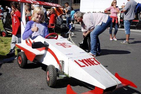 Marie Ekseth (9) var eneste jente som stilte til start i olabilløpet.