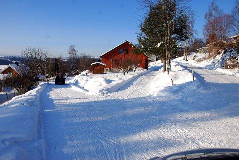 Her er vegstubben med Fangbergvegen sett fra sør, slik vi avbildet den i februar.