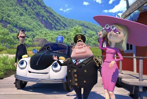Pelles miljøoppgjør: Onkel Rikhard (f.v.), Pelle Politibil, Politimesteren og Kronprinsessen ser etter miljøkriminelle i «Pelle Politibil på sporet».Foto: filmweb.no