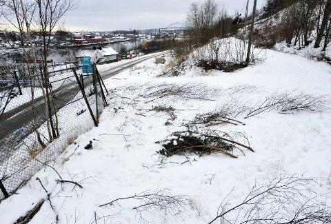 Leirplass: Her på plattingen til høyre i bildet,og like ved oppkjørselen til Kiæråsen fra Lislebyveien, skal romfolket få bo. foto.t