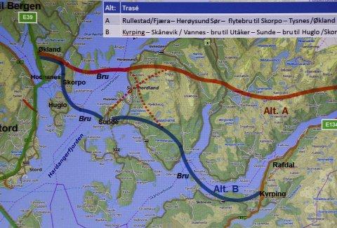 INNSPILL ØST/VEST: Når Statens vegvesen skal tegne kartet mellom Bergen og E 134 Haukelifjell, kan disse ideene fra Sunnhordland bli tatt med i en konseptvalgutredning.ILLUSTRASJON: Harald Fatland