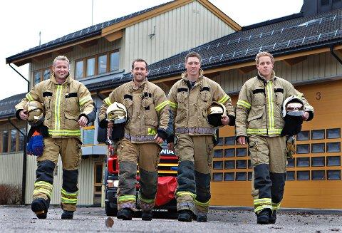 Disse fire sto igjen etter utvelgelsesprosessen av nye brannkonstabler i Vestfold. Fra venstre: Lars Georg Gjertsen, Kristoffer Pettersen, Mats-Erik Pettersen og Kjetil Lund.