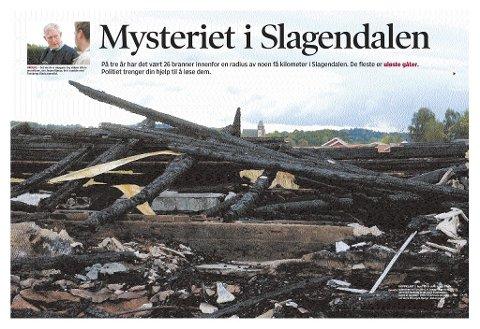 FULGT: Tønsbergs Blad har jevnlig omtalt de hyppige brannene i Slagen.  Tønsbergs Blad Magasin  11. oktober 2003