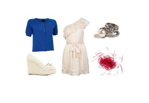 Cardigan fra In Wear (kr 499), hvit kjole fra Bik Bok (kr 249), sko fra Mango (kr 549), ringer fra Lindex (kr 69,50), hårpynt fra Accessorize (kr 289).
