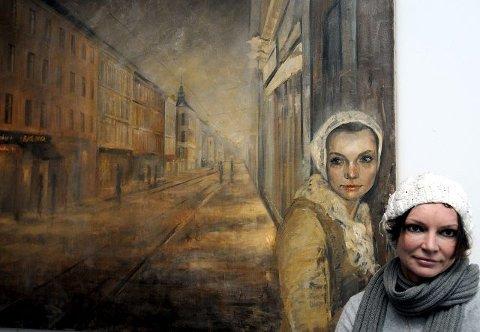 Dobbelt: I et stort maleri hvor motivet er fra Grünerløkka i Oslo har hun malt et selvportrett.