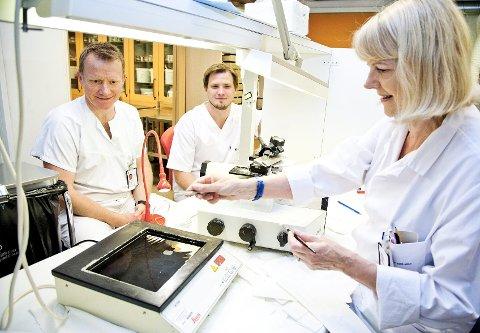 Stikk: Bioingeniør og seksjonsleder Lotte Gundersen lager vevssnitt til patologene Jan Kristian Godøy (til venstre) og Bendik Sundrehagen. Etter patologenes undersøkelser får pasienten vite om alt er som det skal, eller ikke.alle foto: Trine Sirnes