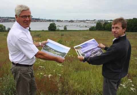 planer Fredrik Thoring fra Meglergaarden og Hans Magnus Lutnæs i Solid Prosjekt AS viser fram bygningsplanene.
