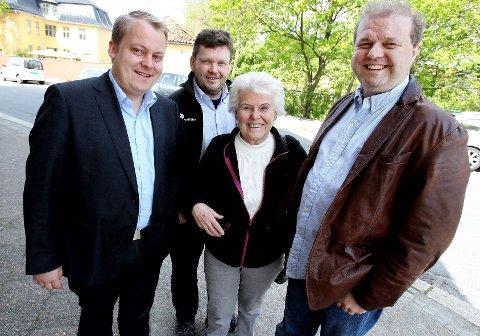 Det var de borgerlige partiene i Moss som vedtok innføringen av lokal kontantstøtte for toåringer. Fra venstre: Erlend Wiborg (Frp), Sindre W. Mork (V), Kjellaug Nakkim (H) og Halvard Sand (KrF).