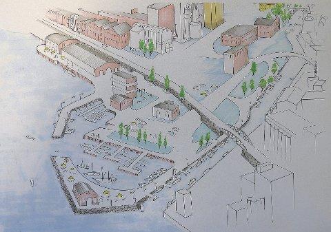 Slik ser Rødt for seg en ny gjestehavn ved Peterson-området.